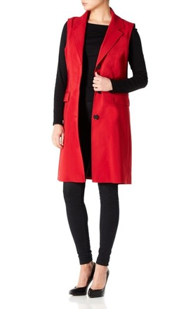 Sofia Red Sleeveless Blazer Mac by De La Creme Fashions