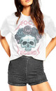 Rock Legend Skull T-Shirt in White by Fashionkilla