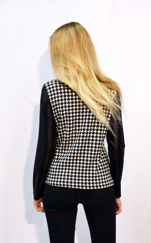Long Sleeve Top in Black and White Houndstooth by CY Boutique