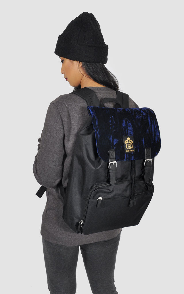 Navy crushed velvet panel Laptop Backpack by The Left Bank