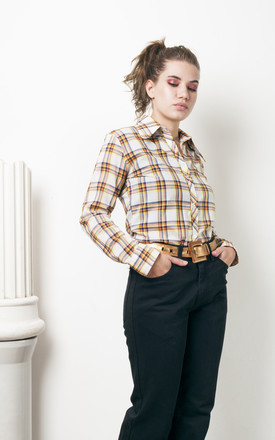 70s vintage plaid shirt w pointed collar by Pop Sick Vintage