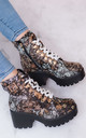 VICIOUSER Chunky Platform Lace Up Block Heel Ankle Boots Shoes - Arty Leather Style by SpyLoveBuy