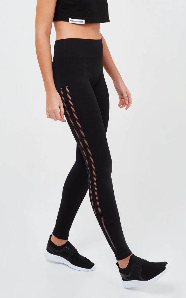 Black Seamless Mesh Leggings by GYMVERSUS London
