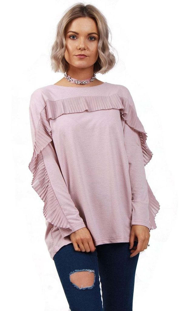 Dusty Pink Oversized Soft Stretch Ruffle Long Sleeve Jumper Top by Urban Mist