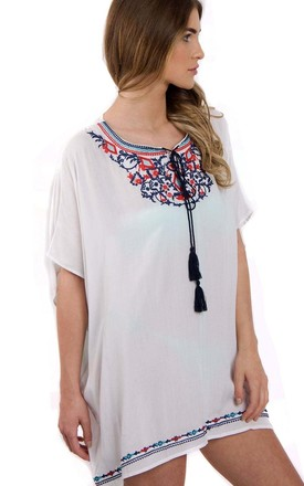 White Floral Embroidered Loose Kaftan Top With Tie Front by Urban Mist