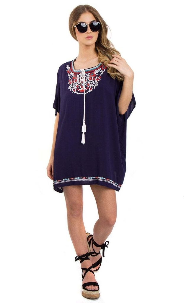 Navy Floral Embroidered Loose Kaftan Top With Tie Front by Urban Mist