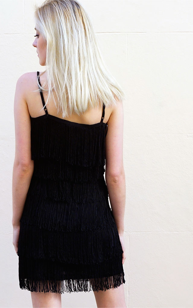 Strappy Fringed Flapper Dress in Black by CY Boutique