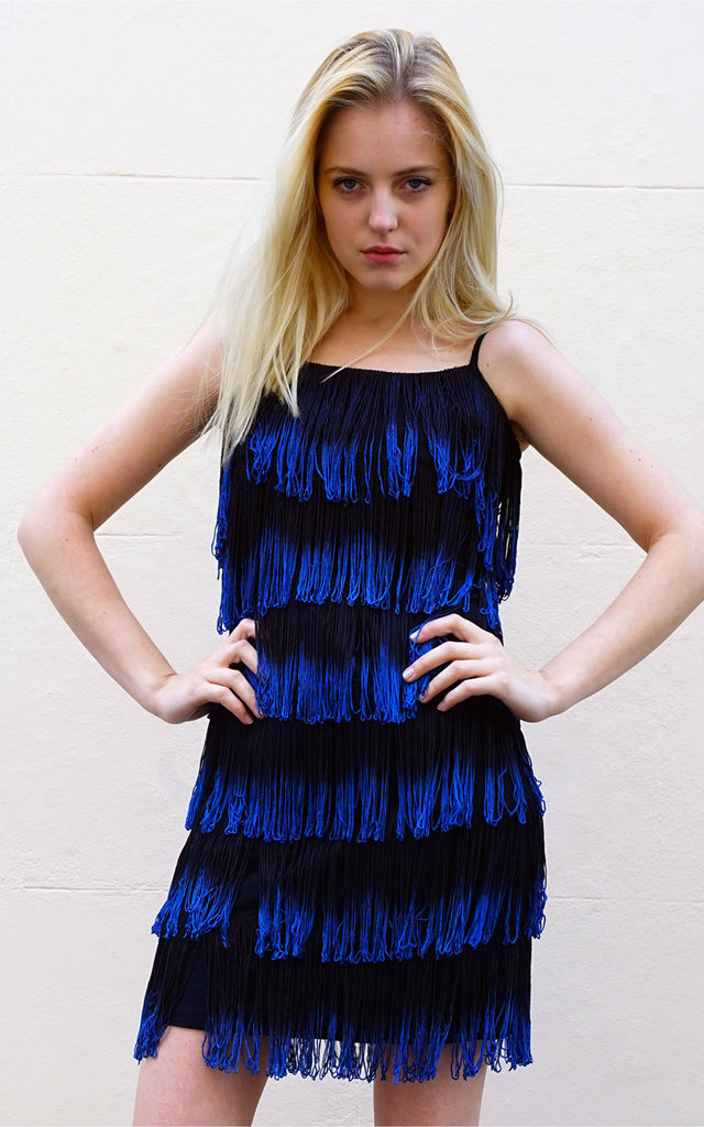 a109c7aeaa5f Strappy Fringed Flapper Dress In Black And Blue | CY Boutique | SilkFred