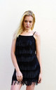Strappy Fringed Flapper Dress in Black and Grey by CY Boutique