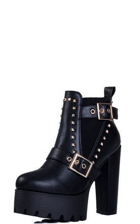 KKNIGHT Adjustable Buckle Block Heel Chelsea Ankle Boots - Black Leather Style by SpyLoveBuy