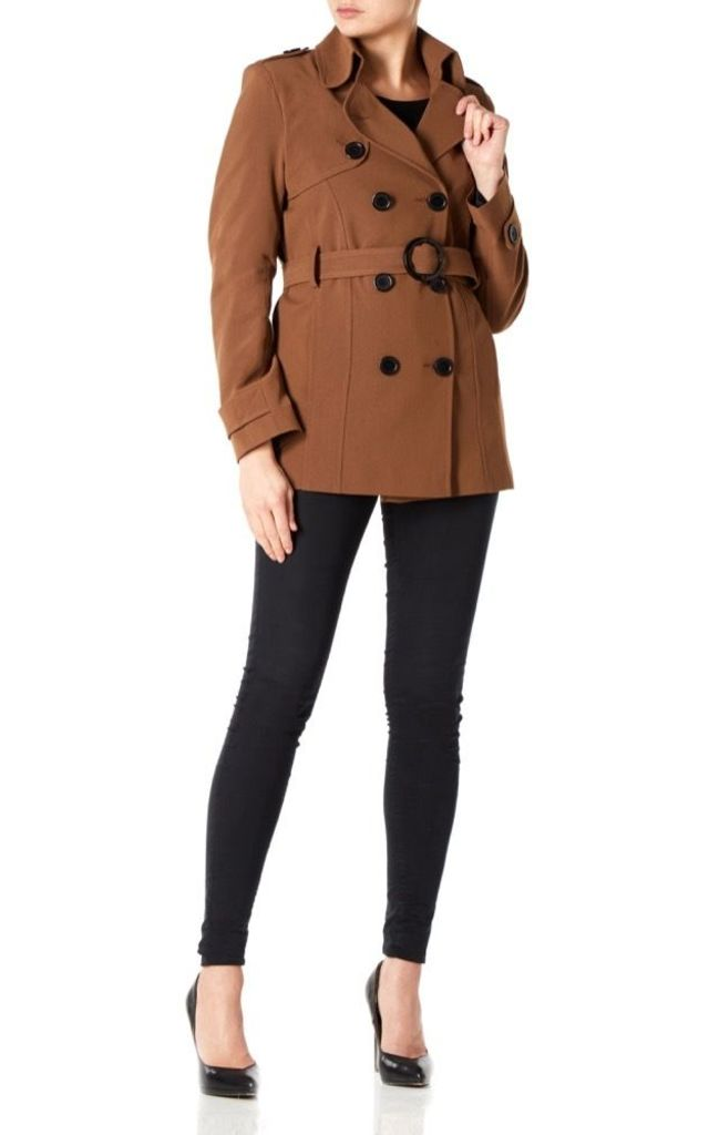 Rebecca Brown Belted Short Pea Coat by De La Creme Fashions