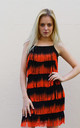 Strappy Fringed Flapper Dress in Black and Orange by CY Boutique