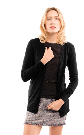 Long Sleeve Button Up Cardigan in Black by CY Boutique