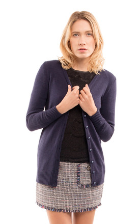 Long Sleeve Button Up Cardigan in Navy by CY Boutique