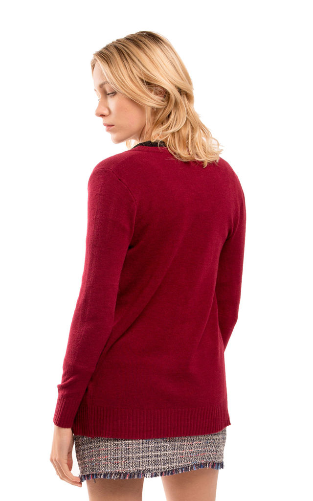 Long Sleeve Button Up Cardigan in Burgundy Red by CY Boutique