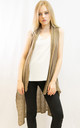 Sleeveless Long Cardigan in Camel by CY Boutique