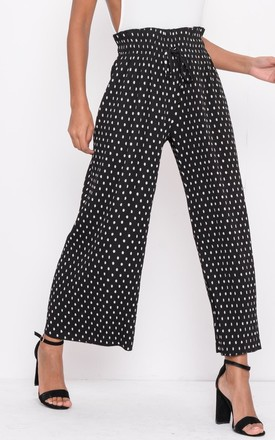 Polka Dot Wide Leg PalazzoTrousers Black by LILY LULU FASHION