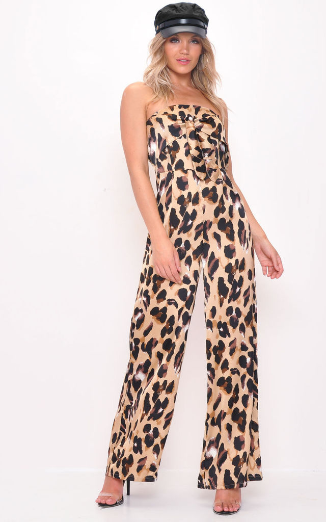 Leopard Print Strapless Tie Front Wide Leg Jumpsuit Multi by LILY LULU FASHION