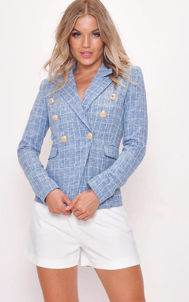 military style tailored blazer jacket white check tweed blue by LILY LULU FASHION