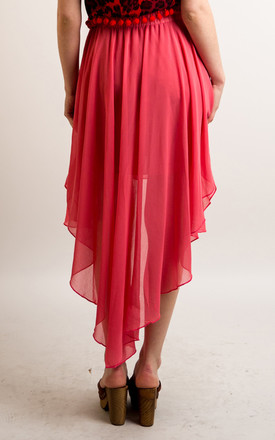 Chiffon Skirt with Dipped Hem in Rose Pink by CY Boutique
