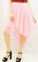 Chiffon Skirt with Dipped Hem in Pink by CY Boutique