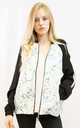 Bomber Jacket in Black, White and Multicolour Floral Print by CY Boutique