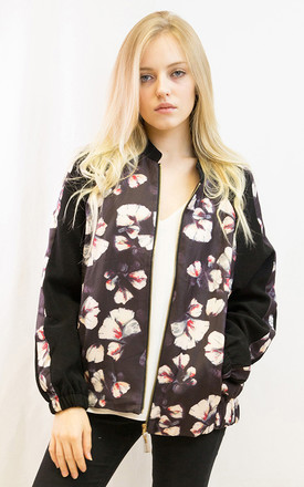 Bomber Jacket in Black Floral Print by CY Boutique