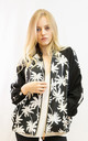 Bomber Jacket in Black and White Palm Tree Print by CY Boutique