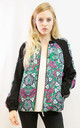 Bomber Jacket in Green Paisley Floral Print by CY Boutique