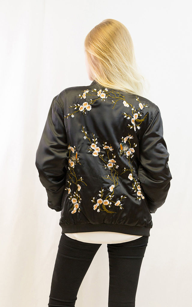 Black Quilted Satin Bomber Jacket with Bird & Flower Embroidery by CY Boutique