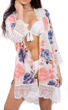 Pink Rose Print Longline Kimono With Lace Trim And Side Splits by Urban Mist