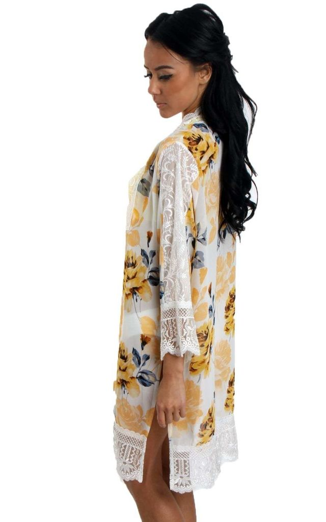 Yellow Rose Print Longline Kimono With Lace Trim And Side Splits by Urban Mist