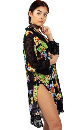 Black Tropical Floral Print Longline Kimono With Lace Trim And Side Splits by Urban Mist