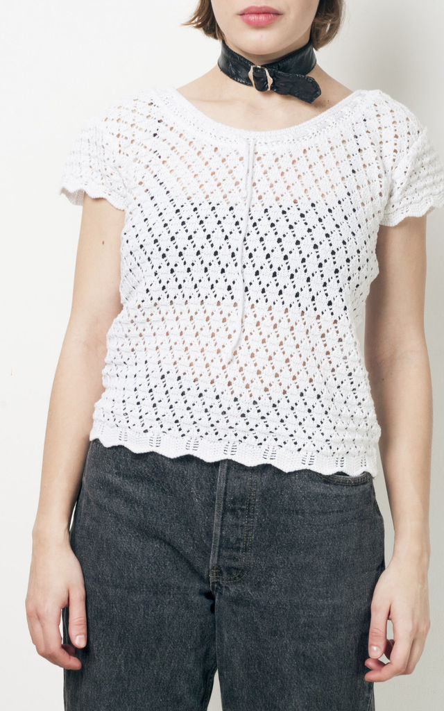 90s vintage knit lace top by Pop Sick Vintage