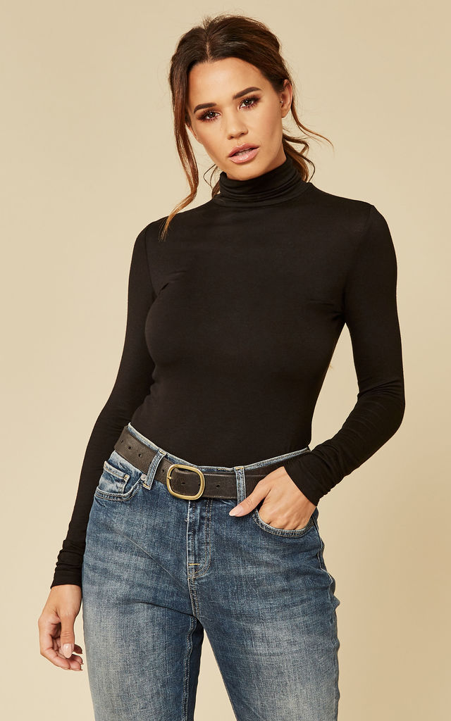 Black Long Sleeve Roll Neck Top by Pieces