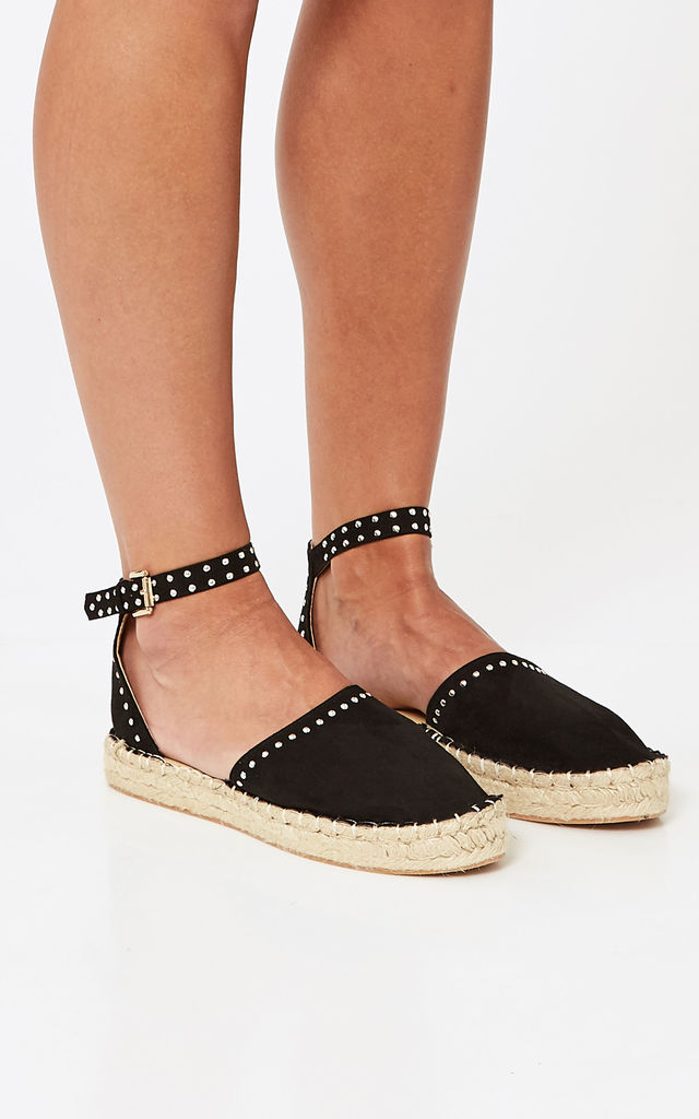 Black Faux Suede Espadrilles With Buckle Detail by Truffle Collection