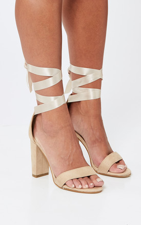 Nude Block Heel With Ankle Tie by Truffle Collection Product photo