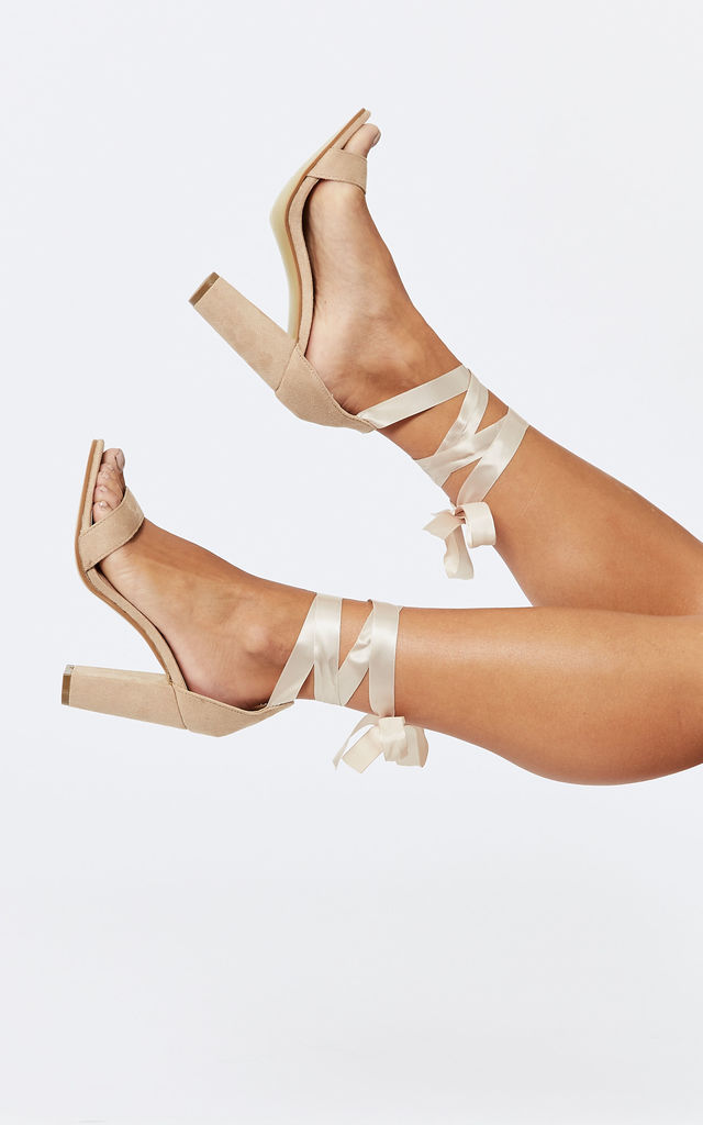 Nude Block Heel with Ankle Tie by Truffle Collection