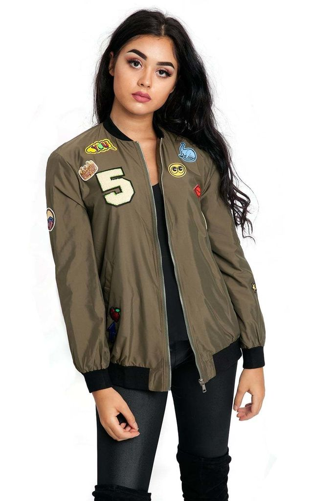 Khaki Green Oversized Applique Bomber Jacket by Urban Mist