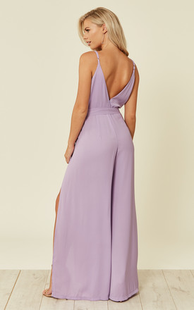 Split Leg Wrap Over Jumpsuit in Lilac by Oeuvre