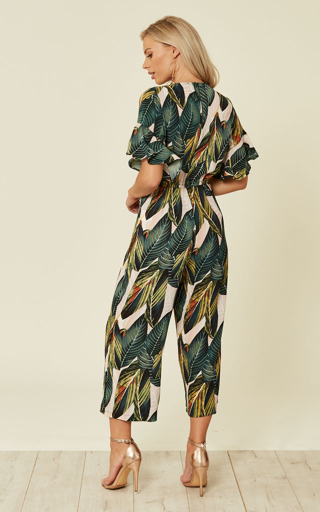 LEAF PRINTED FRILL DETAIL WRAP FRONT JUMPSUIT by AX Paris