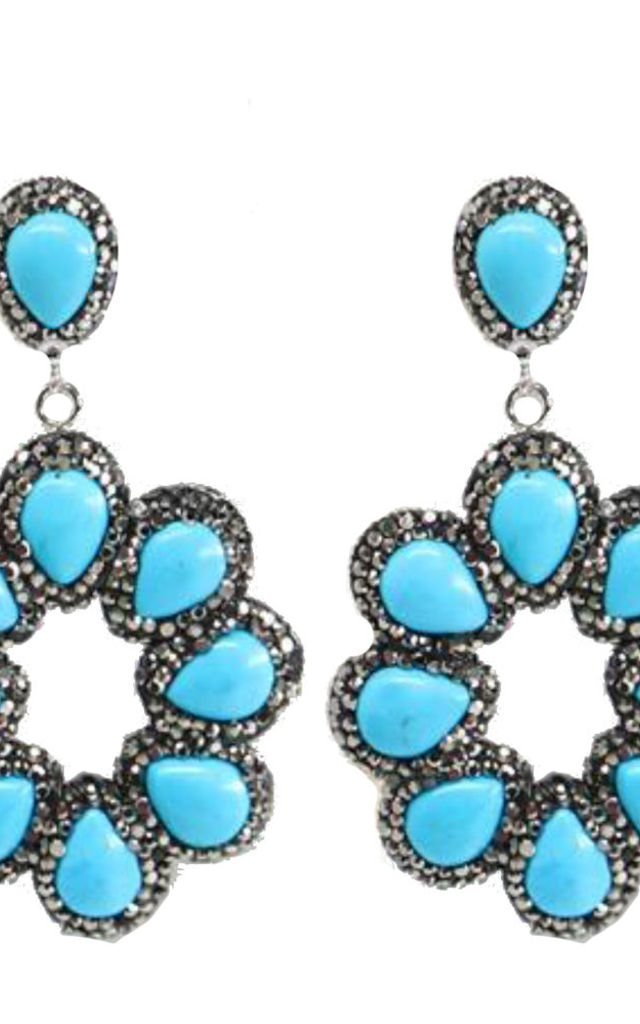 Turquoise Halo earrings by Self-Same