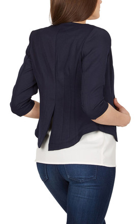 Navy Sleeve Fitted Blazer - Navy by Cutie London