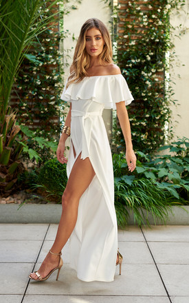 Bardot Frill Detail Split Leg Jumpsuit in White by Club L London