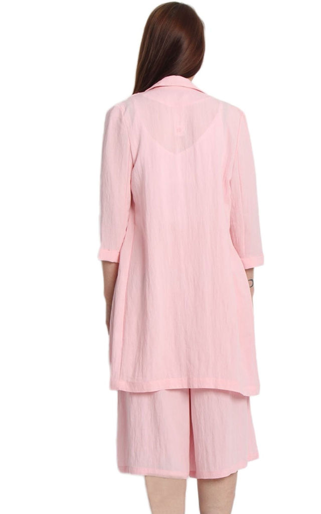 Pink Linen Look Longline Blazer and Culotte Co-Ord Set by Urban Mist