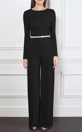 *SILKFRED EXCLUSIVE* The Devon Long Sleeve Cross Cut Out Back Jumpsuit in Black by Gorgeous Couture
