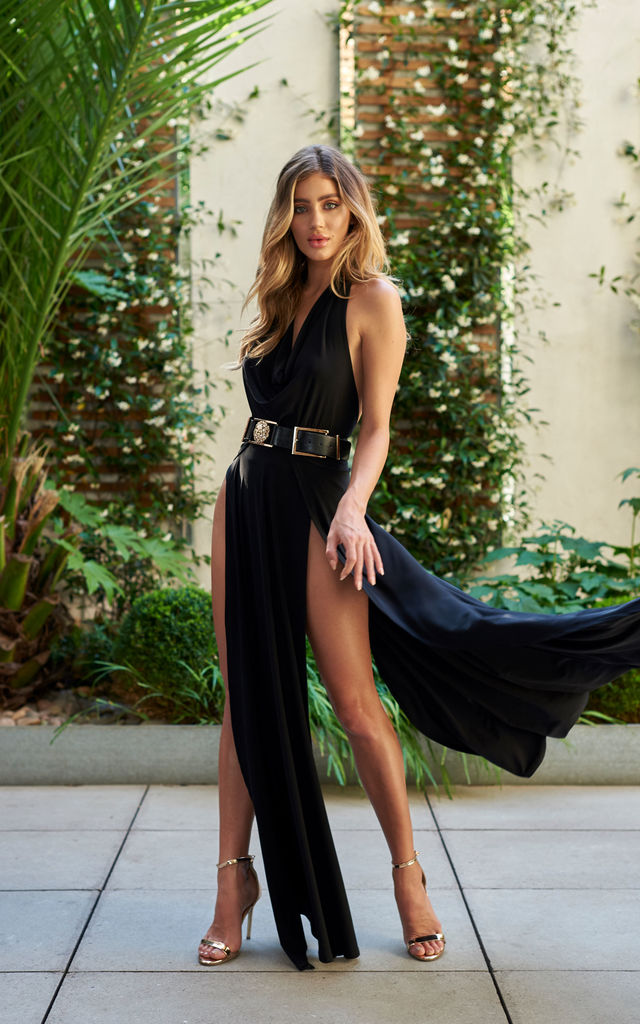 Black Double Thigh Split Maxi Skirt by Club L London