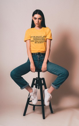 T Shirt in Gold with Equality Slogan by Save The People