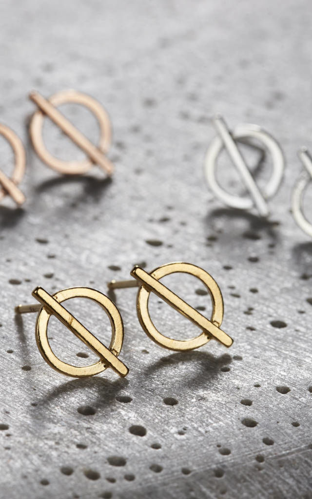 18ct gold plated Circle Bar Stud Earrings by Posh Totty Designs