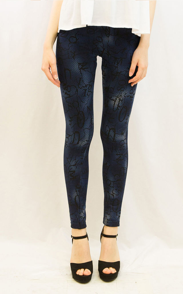 Cotton Leggings with Fleece Lining in Blue Leopard Print by CY Boutique